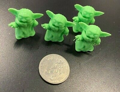 $5 • Buy 3D Printed 4 Baby Yoda Green Paintable Collectible Models Figurines Fan Art!