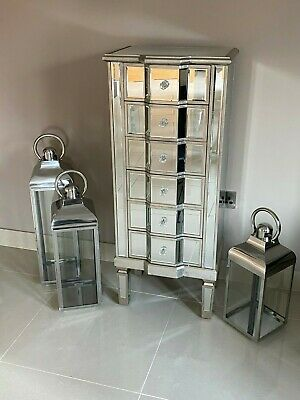 Mirrored Tallboy Venetian Bedroom Furniture Chest Of Drawers Champagne Silver • 279.95£