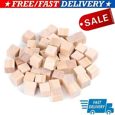 £3.10 • Buy 50X Blank Wood Dice Cubes Unfinished Plain Wooden Blocks Accessories Handcraft