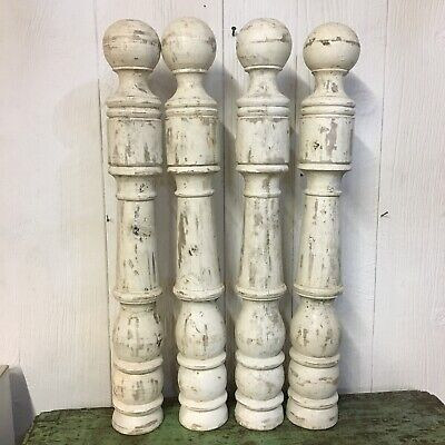 $129.95 • Buy Lot Of 4 Farmhouse White Wooden Table Legs Turned Rustic Spindles Parts Stairway