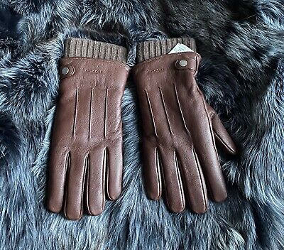 $125 • Buy Gloves Coach Mens Premium Leather 3-in-1 Gloves Size Small Retail $195.00