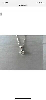 18ct Gold 1/2 0.5 Carat Genuine Diamond Solitaire Pendant And Chain Necklace • 405£