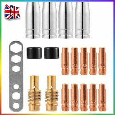 £7.97 • Buy 19PCS M6 Torch Welder Contact Tips Holder Gas Nozzle For Welding MIG/MAG MB Set