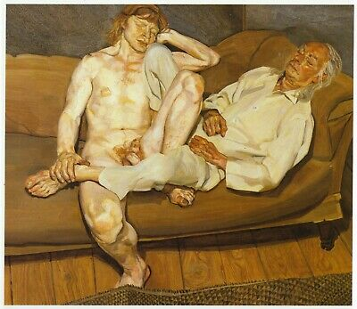 Naked Man With Friend Lucian Freud Print In 11 X 14 Inch Mount Ready To Frame • 19.95£
