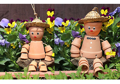 £12.99 • Buy TWO X Flower Pot Man Hat Terracotta Garden Ornament 25cm Home Gift Fast Delivery