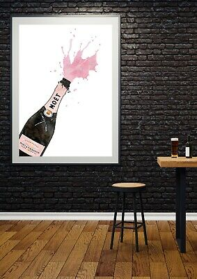 Pink Champagne Kitchen Dining Wall Art Print - UNFRAMED Poster • 5.75£