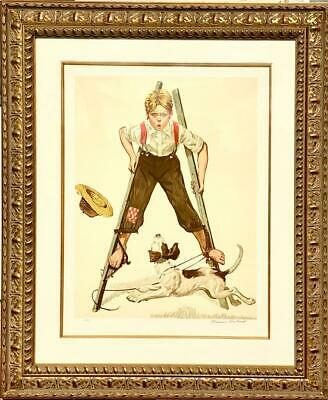 $ CDN3333.50 • Buy Norman Rockwell -Boy On Stilts- Signed & Numbered Lithograph Framed