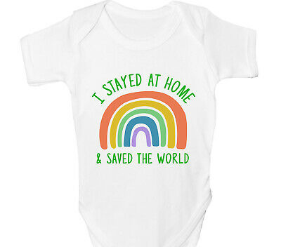 Rainbow Baby Grow Boys Girls Vest Support NHS I Stayed Home And Saved The World • 7.55£