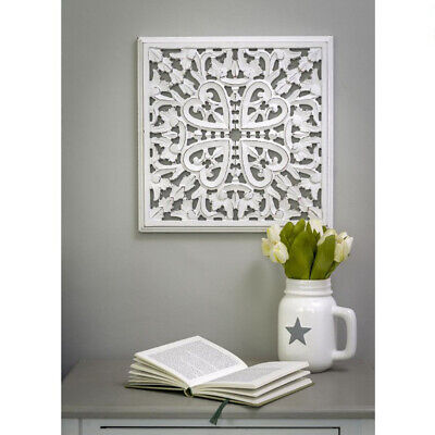 £33.95 • Buy Hand Carved Heart White Mango Wood Art Square Edged Wall Panel Decoration