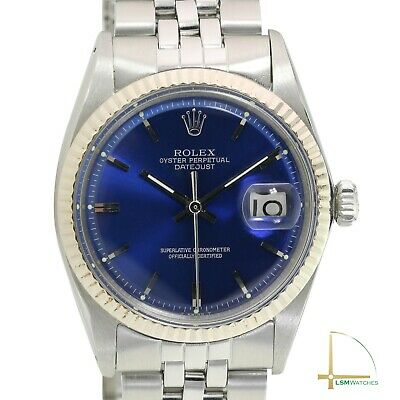 $ CDN5091.37 • Buy Rolex Mens Datejust 36mm 18KW & SS Blue Index Dial Fluted Bezel Jubilee Watch