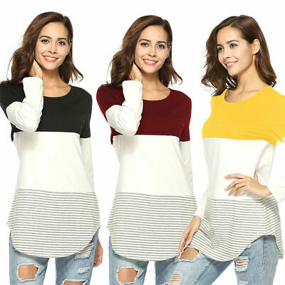 AU15.99 • Buy Womens Lady Casual Long Sleeve T-Shirt Top Striped Blouse Trim Round Neck NEW AU