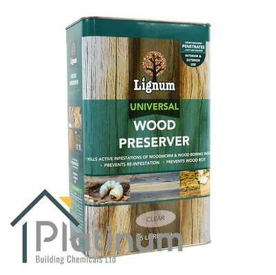 LIGNUM Universal Wood Preserver 5L   Woodworm, Dry & Wet Rot Timber Treatment • 27.50£