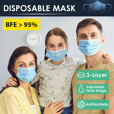 AU19 • Buy 50 / 100pc Disposable Daily Protective Face Mask Anti Bacterial Filter 3 Layer