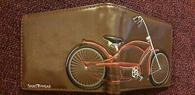 New Black / Brown Mens Faux Leather Wallet From Shagwear. Bike Design.  • 11.55£