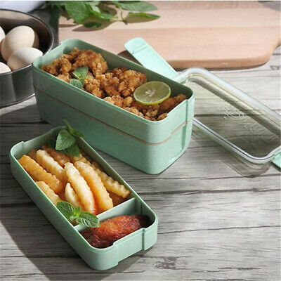 AU12.26 • Buy 3 Layer Bento Lunch Box Leakproof Microwave Food Container Processed Wheat Fib M