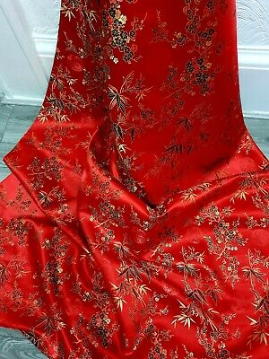 £5.99 • Buy 1M Blossom Floral Red  Multi Color Chinese Brocade Fabric Shiny Silky  45