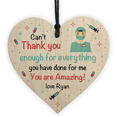 £4.99 • Buy Personalised Thankyou Gift For Nurse Doctor Wood Heart Gift For Him Her Keepsake