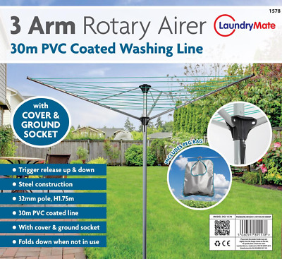 Rotary Clothes Airer Dryer 30M 3 Arms Washing Line Free Standing Patio Camping • 24.99£