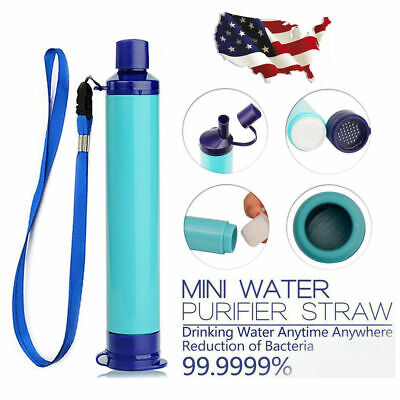 $13.99 • Buy Portable Water Filter Straw Purifier Camping Emergency Gear Survival Tool Blue