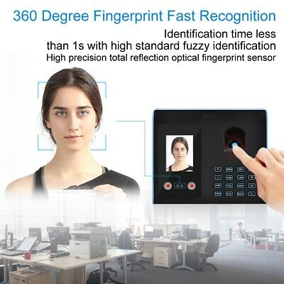 2.8in LCD Hotel Office Time Clock Face Fingerprint Recognition Password USB • 59.24£