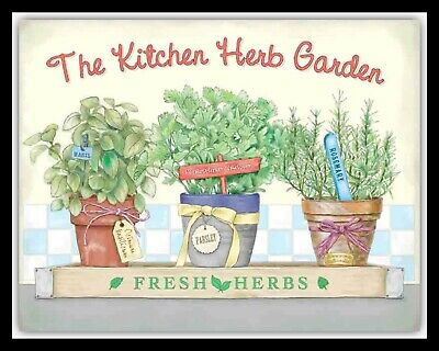 £4.99 • Buy The Kitchen Herb Garden Rosemary Mint Thyme Basil Metal Plaque Tin Sign 2002