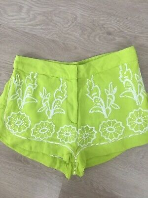 Topshop Boutique Shorts.Size 8.Embroidered. Pretty. Green/white. Excellent.  • 10.99£