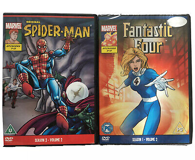 Original SPIDER-MAN (1970) + FANTASTIC FOUR (1994) Cartoons MARVEL - DVD • 5.95£
