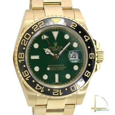 $ CDN44837.06 • Buy Rolex GMT-Master II 116718 40mm Solid 18K Yellow Gold Green Dial Oyster Watch