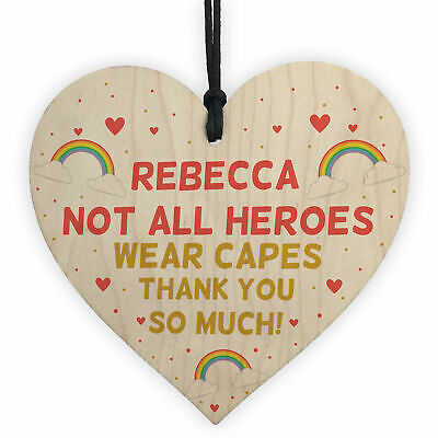£4.99 • Buy Personalised Thank You Gift For Nurse Doctor Teacher Wood Heart Special Keepsake