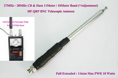 27MHz - 28MHz CB & Ham 11/10Meter Band HF QRP FT817 Handy BNC Telescopic Antenna • 14.72£