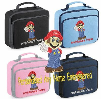 Personalised Embroidered Super Mario Lunch Bag Insulated School Dinner Box&Name • 14.99£