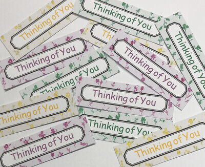 £1.09 • Buy 12 THINKING OF YOU Sentiments/Banners Hand Made Card Toppers DELICATE FLOWERS