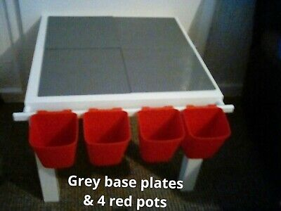 £35 • Buy Children's Baseplates Bricks Construction Table Compatible Lego Duplo Red/ Grey