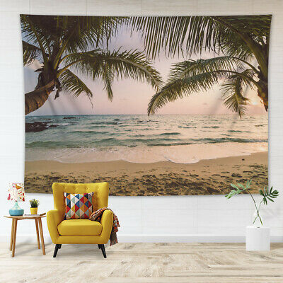 £5.66 • Buy Sunset Beach Scenery Palm Trees Tapestry Wall Hanging Living Room Bedroom Dorm