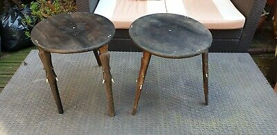 2 X African Hand Carved Small Round Tables • 50£