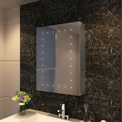 Bathroom LED Mirror Cabinet Wall Mounted 450x600mm IP44 Button Switch Storage • 118.99£