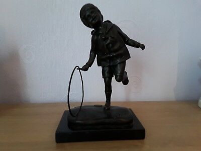 £125 • Buy Bronze Statue Boy With Hoop Signed DH Chiparus
