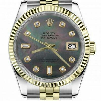 $ CDN6720.25 • Buy Ladies Vintage Rolex 26mm Datejust Two Tone Black MOP Mother Of Pearl With 8 + 2