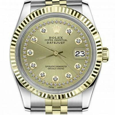 $ CDN6720.25 • Buy Ladies Vintage Rolex 26mm Datejust Two Tone Champagne Color String Diamond Accen