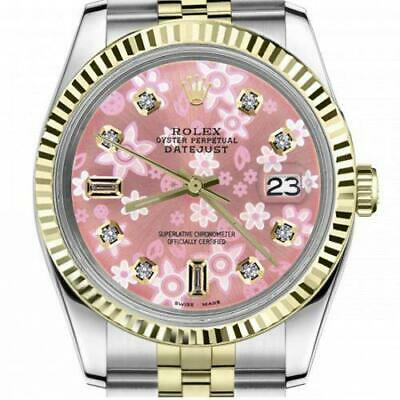 $ CDN6720.25 • Buy Ladies Vintage Rolex 26mm Datejust Two Tone Glossy Pink Flower Dial With 8 + 2 D