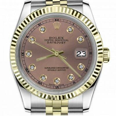 $ CDN6720.25 • Buy Ladies Vintage Rolex 26mm Datejust Two Tone Salmon Color Dial With Diamond Accen