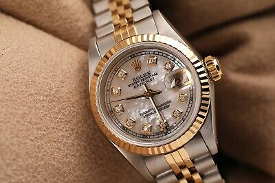 $ CDN6720.25 • Buy Ladies Vintage Rolex 26mm Datejust Two Tone White MOP Dial With Diamond Accent 6