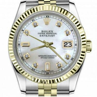 $ CDN6720.25 • Buy Ladies Vintage Rolex 26mm Datejust Two Tone White MOP Mother Of Pearl Dial Diamo