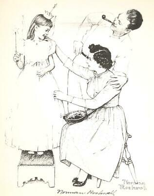 $ CDN233.34 • Buy Norman Rockwell Signed 11 X 14  B & W Print - Mom Dad Girl