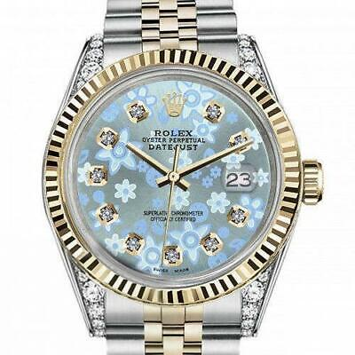 $ CDN7856.11 • Buy Ladies Rolex 26mm Datejust Two Tone Vintage Fluted Bezel With Lugs Glossy Ice Bl