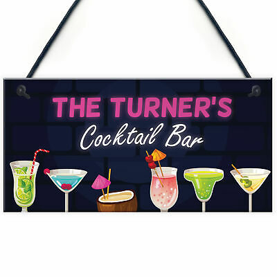 £4.99 • Buy PERSONALISED Cocktail Bar Neon Effect Sign Bar And Pub Decor Home Bar Sign