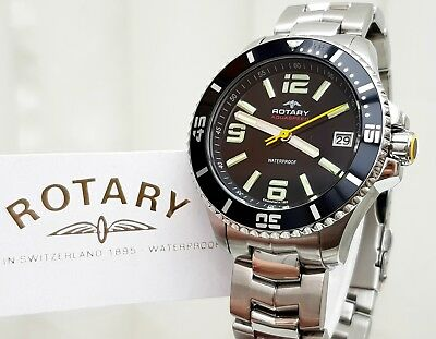 £124.99 • Buy ROTARY AQUASPEED Mens Watch Black S/Steel IDEAL GIFT For Him ! NEW Boxed RRP£280