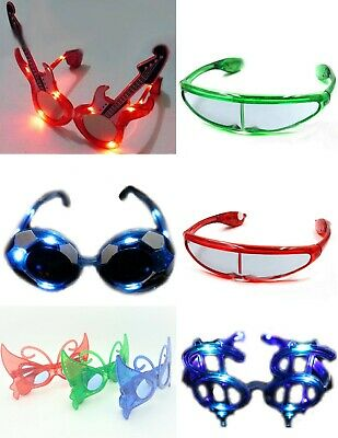 LED Flashing Light-Up Party Glasses Dancing Great Fun Birthdays Night Events   • 4.95£