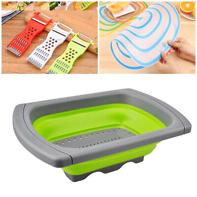 Over Sink Collapsible Colander Retractable Strainer Basket + Peeler + Chopping B • 11.90£