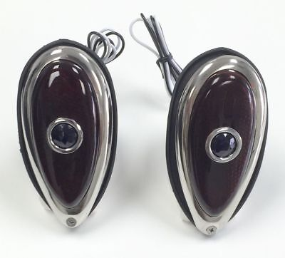 $48.99 • Buy PAIR 1938 39 Ford Tear Drop Tail Lights Red Glass Lens With Blue Dot 12 Volt